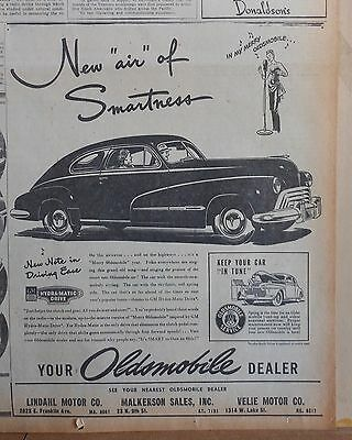 1947 newspaper ad for Oldsmobile - Air of Smartness, it's Merry Oldsmobile year
