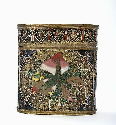 19th Century Chinese Gilt Cloisonne Enamel Opium Tobacco Smoke Box with Peach