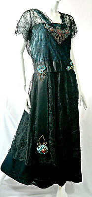 Antique Edwardian 1900s 1910s silk dress with beading and silk flowers