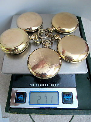 Lot Gold Filled pocket watch cases scrap use 20 25 yr WATCHMAKER Train 18 sz RR