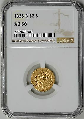 1925-D  $2.5 Gold Indian NGC  Certified AU58  *  #2722075-003
