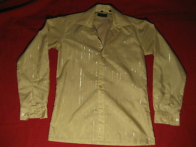 Vtg Tan Saxony Metallic Pinstripe Dress Shirt Scarface Embroidery Cotton/poly