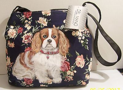 Cavalier King Charles Spaniel hand painted handbag canvas floral Del Mano purse