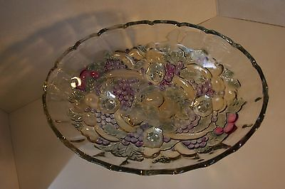 Indiana Carnival Glass Iridescent Fruit Bowl with legs Colored Garland Harvest