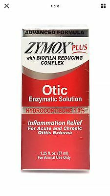 Zymox Plus Otic-HC Advanced Formula Hydrocortisone 1.0% 1.25 oz Red