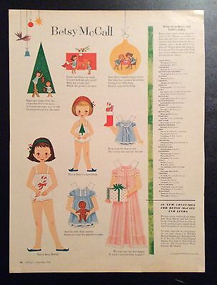 Vintage Betsy McCall Mag. Paper Dolls, Betsy & Linda in December, Dec. 1958