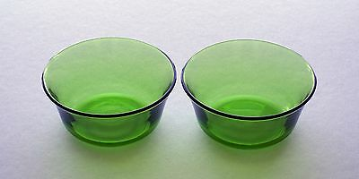 TWO vintage 1970s French DURALEX green glass bowls - 10.5cm