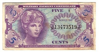 United States Mpc Military Payment Certificate 5 Cent Series 641
