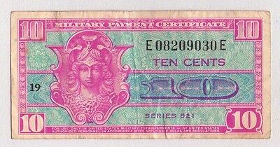 United States Mpc Military Payment Certificate ~ 1948-1951 ~ 10 Cent Series 521