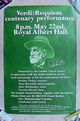1974 VERDI'S REQUIEM at ROYAL ALBERT HALL poster CENTENARY PERFORMANCE