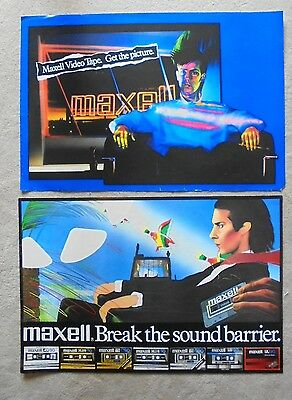 1982 MAXELL BREAK THE SOUND BARRIER poster and MAXELL GET THE PICTURE poster