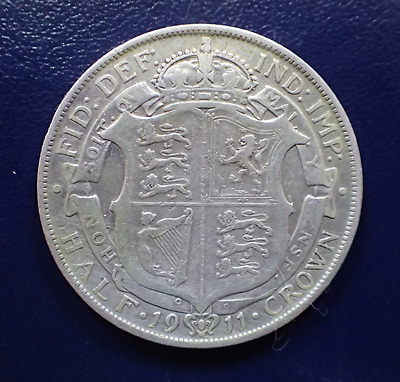 1911 George V Silver Half-Crown Great Britain Uk