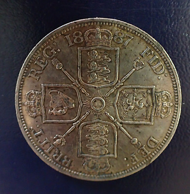 1887 victoria double florin - Roman 1 in date - Fine example