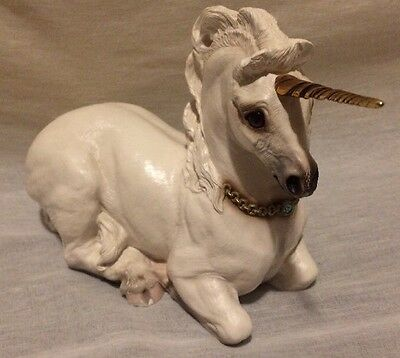 Windstone Editions White Mother Unicorn 24K Gold Plated Horn 1990 Fantasy M Peña