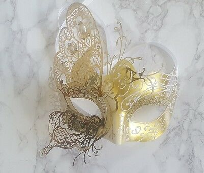 Venetian Masquerade Gold Filigree Metal Mask with Cyrstals BALL/PROM/PARTY UK