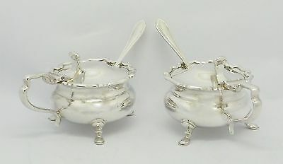 ELEGANT PAIR SOLID SILVER MUSTARD POTS & SPOONS & LINERS HM 1936 - HEAVY c160g
