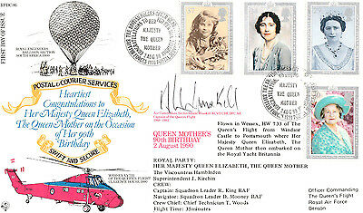RFDC 86 OFFICIAL MILITARY COVER-QUEEN MOTHER`S 90th BIRTHDAY-SIGN AIR COMMODORE