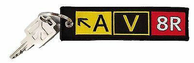 Embroidered Aviation Keychain. AV8R Taxiway Sign. Pilot Gifts & Accessories.