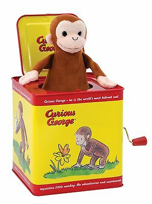 """Plush Curious George Classic Jack-in-the-Box Plays """"Pop Goes the Weasel"""""""