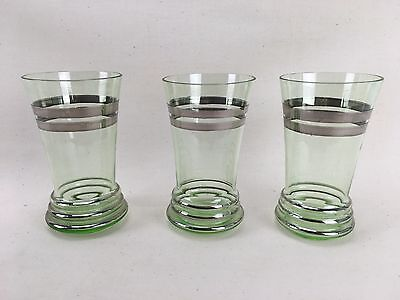 Trio Of Uranium Glass Vaseline ART DECO Tumbler Glasses Silver Flash Rare Beauty