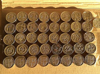 £1 coin Collection.41 x £1 circulation coins. The full set of circulated £1 coin