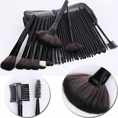 Pro Black 32 Pcs Kabuki Make Up Brush Set With Pouch Fits with Bobby Brown UK
