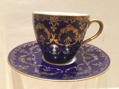 VINTAGE Decorative Demitasse Blue & Gold Cup & Saucer by Royal Doulton Small