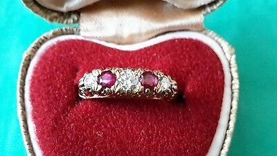 18ct Yellow Gold Vintage Diamond and Ruby Ring -engagement-eternity