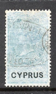 1878 Cyprus Bft:6 1s. Green & Black Revenue.