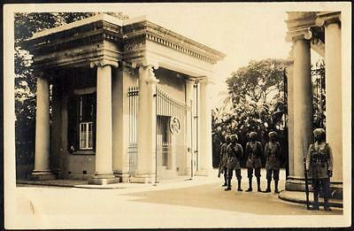 Hong Kong Vintage Postcard - Group of Soldiers Guarding Gated Entrance - RP