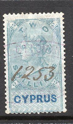 1878 Cyprus Bft:8 2s. Green & Blue Revenue.