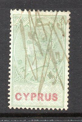 1881 Cyprus Bft:16 10s. Green & Red Revenue.