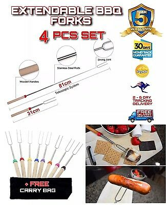 4PCE Telescopic Roasting Marshmallow Barbecue BBQ Skewers Fork + Carry Bag