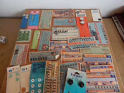 Joblot Collection of Vintage Fasteners ,Buttons Hook & eyes etc Habidashery