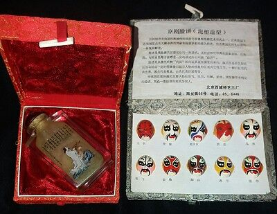 Vintage Chinese Reverse Painted Scent Bottle & Miniature Theatre Masks