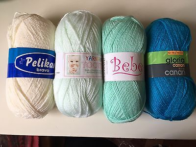 Crochet kit for baby blanket - Turquoise and cream