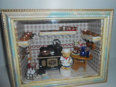 Vintage Dolls House Kitchen - Wood & Glass Framed Room Box  Perfect - See Photos