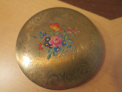 Vintage Stratton Powder Compact, Made In England, Floral Lid, 1950's