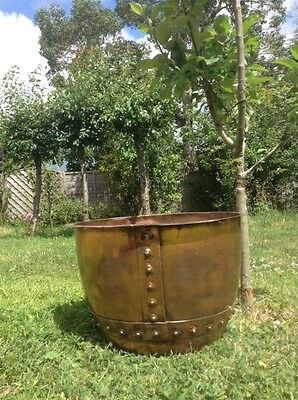 Antique Victorian Large Heavy Riveted Solid Copper Planter Plant Pot
