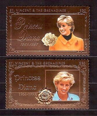 St.vincent & Grenadines 1998 #2619/20 Set Gold Foil Mint Nh, Princess Diana !!