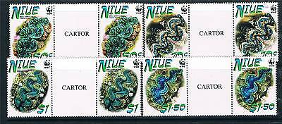Niue 2002 Small Giant Clams GUTTER PRS SG909/12 MNH