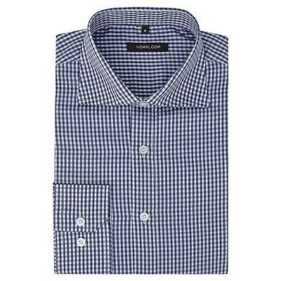 vidaXL Men's Business Shirt Work Social Formal White and Navy Check Size M