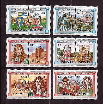 GRENADINES ST.VINCENT BEQUIA 1986 #1ab/6ab SET MINT NH, BRITISH MONARCHS !!