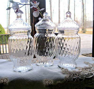 3  Swirl Glass Apothecary Candy Display Storage Buffet Bridal Jars Lot set