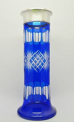 Beautiful Solid Silver 800 Top Cobalt Blue Cut Over Clear Bohemian Glass Vase