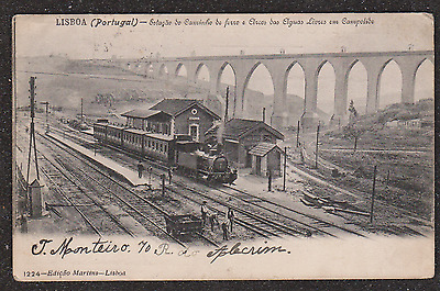 1905 Portugal Train At Railway Station Postcard Estacao Workers On The Track
