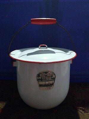 Vintage white enamelware chamber pot lid bail handle red trim Old Kentucky Home