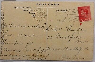 Great Britain 1937 Old Ship Hotel Brighton Picture Post Card With Transorma