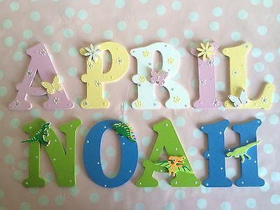 Wooden Name Letter Baby Boy Girl Wall Door Cot Decor Purple Green Lilac Red ...