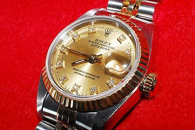 Rolex Datejust 18K Gold & Steel Diamond Champagne Dial 69173G  From Japan *1704